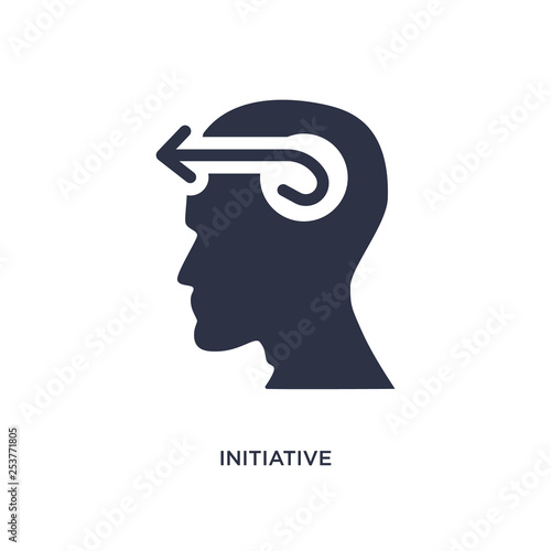 initiative icon on white background. Simple element illustration from brain process concept.