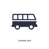 camper van icon on white background. Simple element illustration from camping concept.
