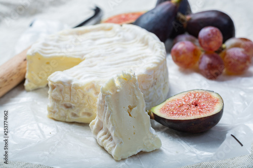 French soft Camembert cheese, original Camembert de Normandie close up - 253774062