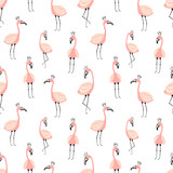 Seamless tropical pattern with cute pink flamingos. Vector summer hand-drawn illustration of a flamingo for children, decor, background, textiles, gifts, paper, clothes, nursery, baby shower, birthday