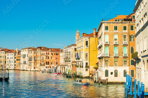 obraz lub plakat VENICE, ITALY - December 21, 2017 : View of water street and old buildings in Venice, ITALY