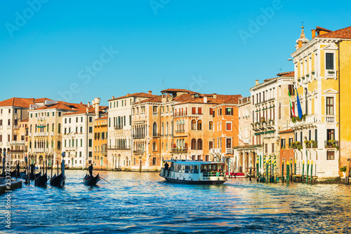 VENICE, ITALY - December 21, 2017 : View of water street and old buildings in Venice, ITALY - 253782286