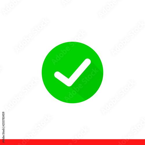 Tick vector icon, checkmark symbol  Simple, flat design for web or