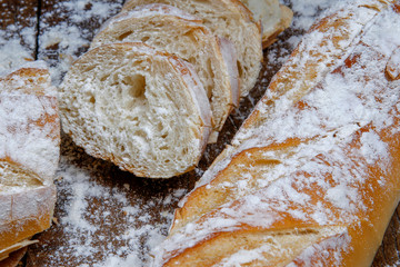 Fresh bread or french baguett and flour