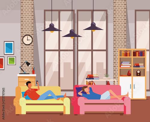 faceless men relax living room - 253797065