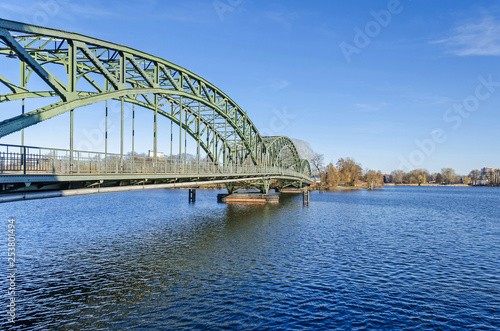 Arch bridge Eiswerderbruecke over the river Havel in Berlin, Germany