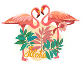 Tropical Palm leaves and two Exotic and Pink Flamingos in Jungle. Floral Embroidered Pattern for Fabric. Bird, Hawaii symbol. Zoo card. Aloha. EPS Vector illustration