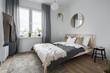Leinwandbild Motiv Bedroom with wooden bed