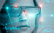 Blonde woman in AR glasses, binary code and hud - 253831656