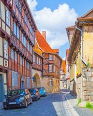 Old picturesque street in Quedlinburg