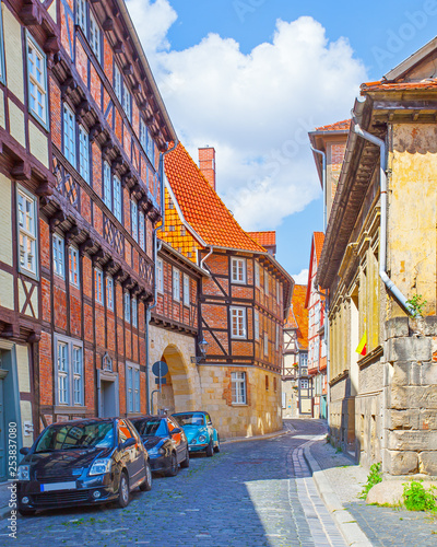 Old picturesque street in Quedlinburg - 253837080