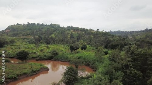 Riverbed in rural Africa, aerial