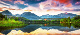 Unique mountain lake Strbske pleso (Strbske lake) in High Tatras national park, Slovakia