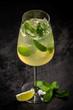 Leinwanddruck Bild - Glass of Hugo cocktail