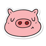 sticker of a cartoon pig face