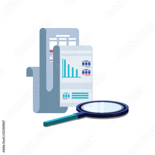 paper document with statistic graphic and magnifying glass