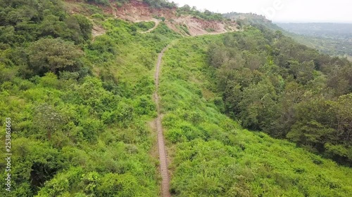 Railroad in rural Africa, aerial