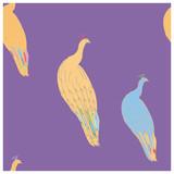 Peacock illustration endless pattern purple background.