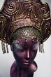 Head of mannequin in decorated bronze Russian kokoshnick