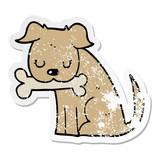distressed sticker of a cartoon dog