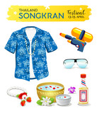 Happy Songkran's Day Thailand collections isolated on white background, vector illustration