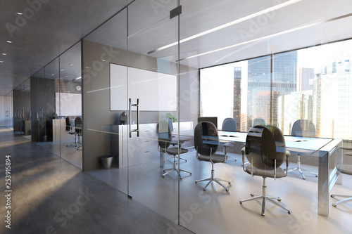 Glass Office Room Wall Mockup - 3d rendering - 253915894