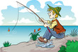 Fisherman cartoon character