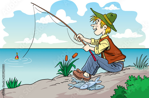 Fisherman cartoon character - 253923880