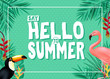 Topical Summer Banner Design with Say Hello to Summer Message in Green Color with Polka Dots Patterned Background with Palm Tree Leaves, Toucan and Flamingo. Vector Illustration
