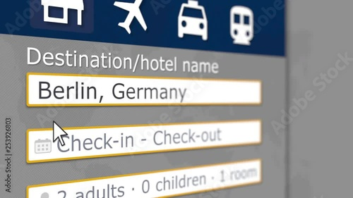 Online hotel search in Berlin on some booking site. Travel to Germany conceptual 3D animation