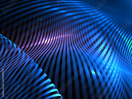 Abstract futuristic blue 3d illustration, stripes and lines.
