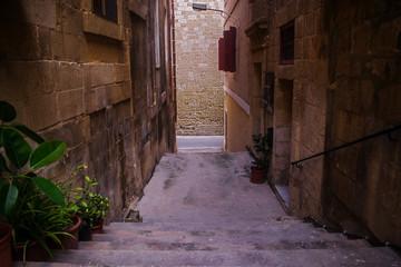 Narrow Street in the Old Town of Birgu, Malta