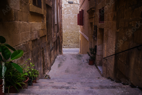 Narrow Street in the Old Town of Birgu, Malta - 253936232