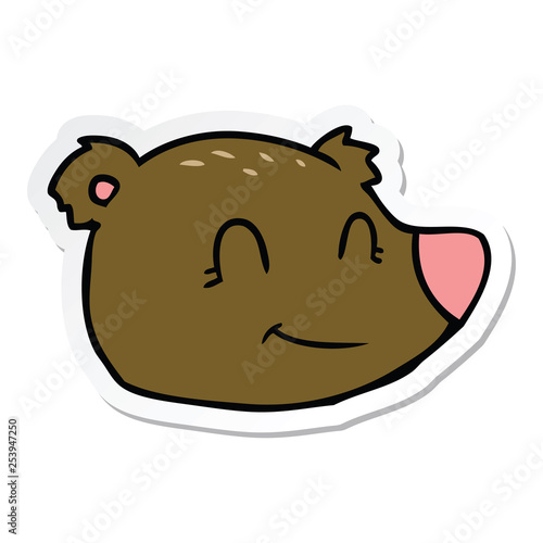 sticker of a cartoon happy bear face - 253947250