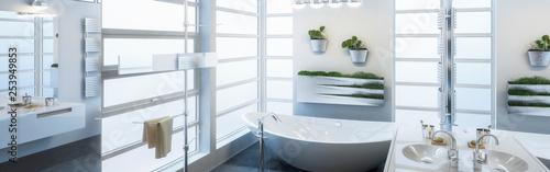 Leinwanddruck Bild Contemporary Bathroom Design (panoramic)