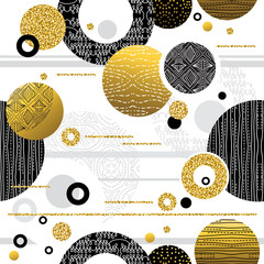 Repeatable pattern with Golden and black glittering decorative flowers. Seamless floral pattern. Can be used for fabric, scrap booking, wallpaper, web background, invitation, vector © sunnyfrog