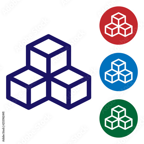 Blue Isometric cube icon isolated on white background. Geometric cubes solid icon. 3D square sign. Box symbol. Set color icon in circle buttons. Vector Illustration