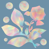 Floral card design. Rose flower in pastel on a gray background. Collage from leaves, balls  and flowers. Pattern for print or wallpaper. .