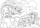 Cartoon cute dinosaurs coloring book, funny illustration