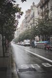 Calle barcelona y lluvia