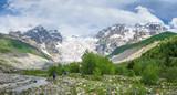 Scenic Caucasus mountains in Svaneti, Georgia. Mountain landscape Tetnuldi and glacier Lardaad summit near Adishi