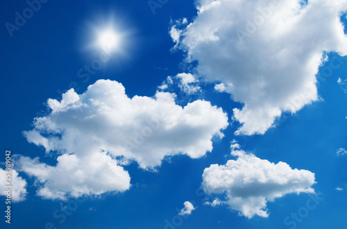 blue sky background with white clouds - 253989042