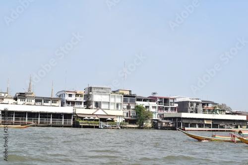 Cityscape from Chao Phraya River, Bangkok, Thailand - 253989408