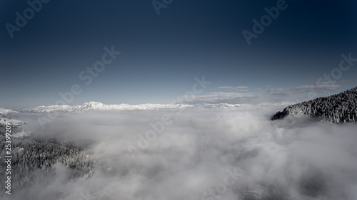 beautiful winter mountain landscape form a drone - 253992091