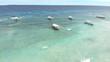 vue aerienne, mer et bateaux, philippines