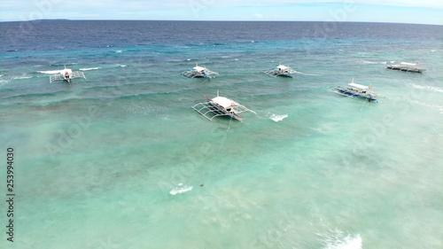 vue aerienne, mer et bateaux, philippines - 253994030