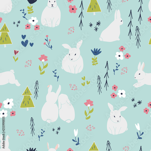 fototapeta na ścianę Sweet bunny rabbits seamless pattern with cute animal and simple hand drawn flowers. Baby or kids product design, fabric, wallpaper, clothing. Floral and animal repeated pattern