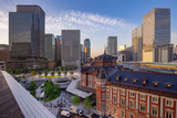 Marunouchi business district and Tokyo Station brick building at dusk