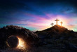 Quadro Resurrection - Tomb Empty With Crucifixion At Sunrise