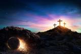 Fototapeta Kamienie - Resurrection - Tomb Empty With Crucifixion At Sunrise © Romolo Tavani